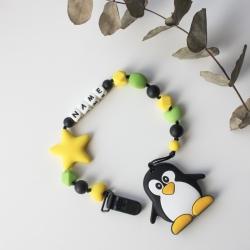 Именной силиконовый прорезыватель Баловень Penguin